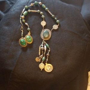 Boho vintage long necklace and earrings